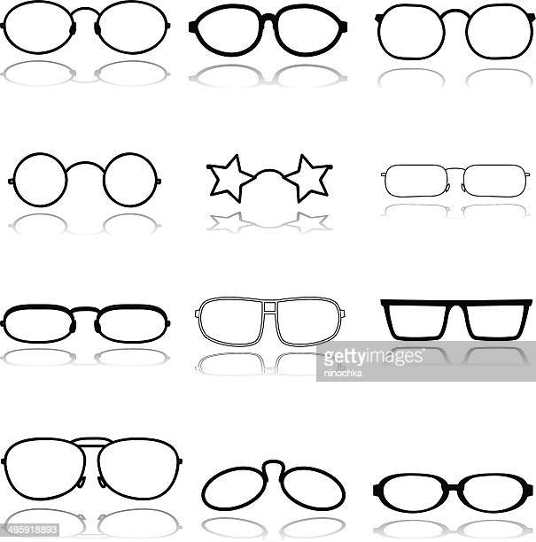 glasses - collection stock illustrations, clip art, cartoons, & icons
