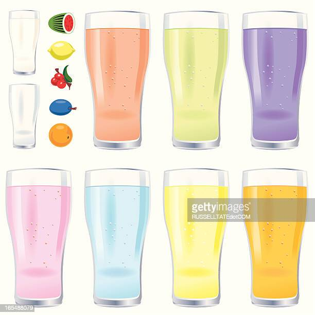 glassesd of fruit juice and milk - lager stock illustrations, clip art, cartoons, & icons
