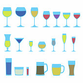 Glassware icon set. Colorful stemware for a different drinks. Beer glass, Wine glass and Cups isolated on white background icons collection. Vector illustration.