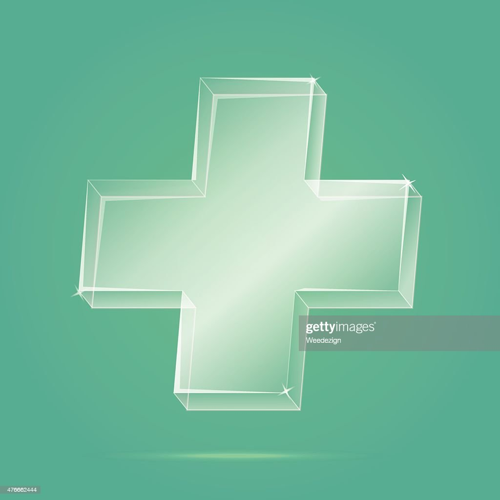 Glassy first aid sign on red background,Medical Heath