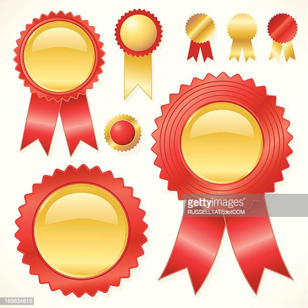 glassy red and gold rosettes - serrated stock illustrations, clip art, cartoons, & icons