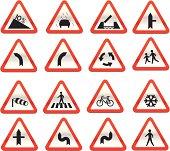 glassy warning road signs vector