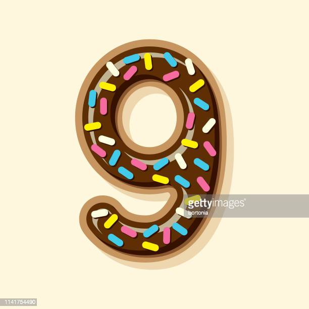 glazed chocolate donut number - number 9 stock illustrations