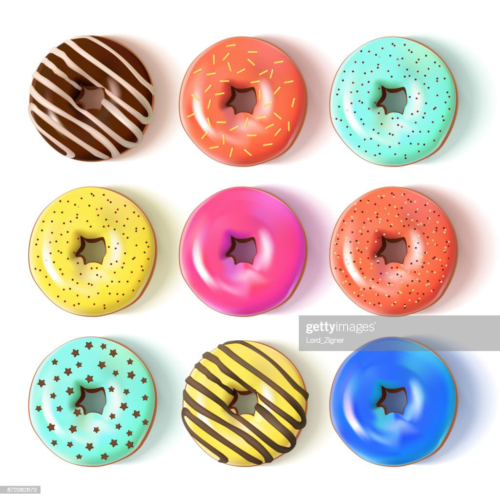 Glazed colored donuts set 3D. Vector Illustration