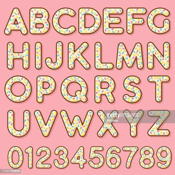 ilustrações, clipart, desenhos animados e ícones de alfabeto vitrificado da filhós da baunilha - glazed food