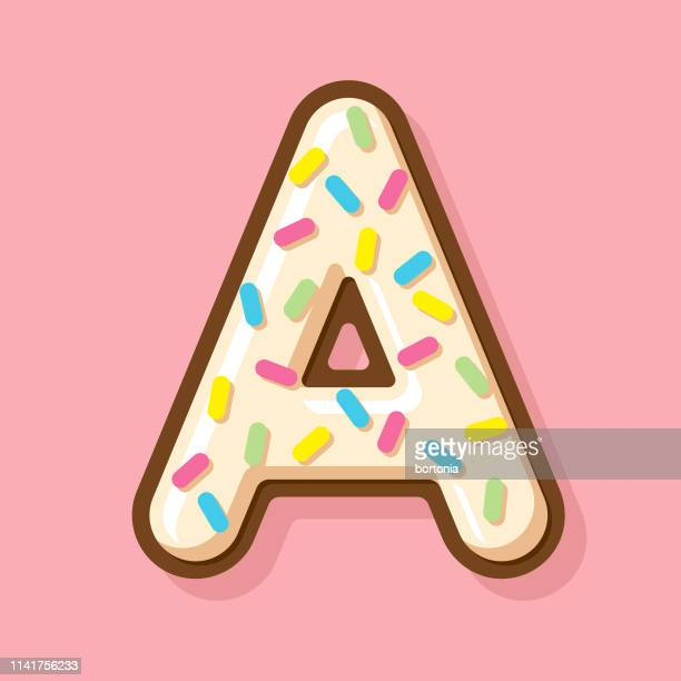 glazed vanilla donut letter - letter a stock illustrations