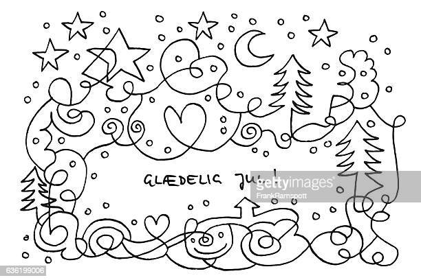 Glædelig Jul Snowy Christmas Night Doodle Drawing