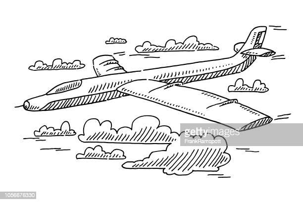 Segelflugzeug Flugzeug In den Himmel-Zeichnung