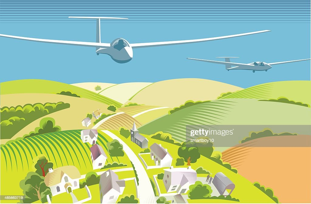 Gliders over countryside