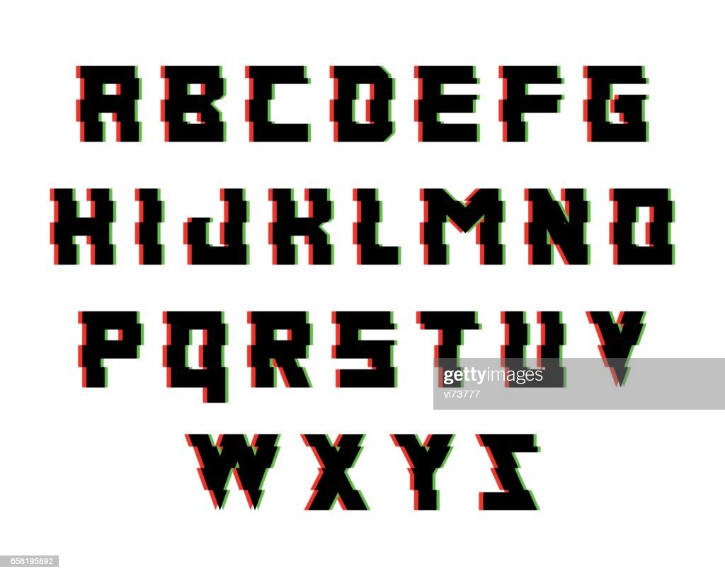 Glitch alphabet. Font with distortion effect. Isolated vector illustration.