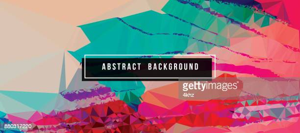 Glitch Art Polygons Abstract Vector Background