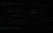 Glitch background. Video distortions on black backdrop. Digital signal error. Color pixel noise with distorted lines. Television glitch and random shapes. No signal. Vector illustration