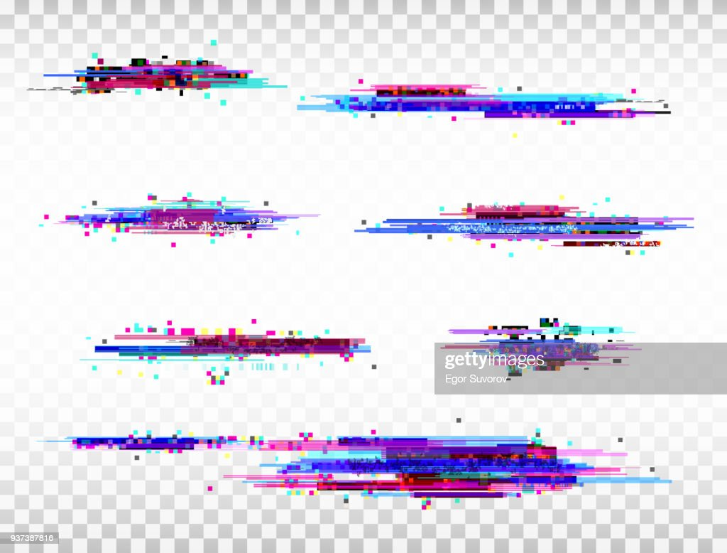 Glitch color elements set. Digital noise abstract design. Color pixel glitch. Modern bug effect. Noise texture. Vector illustration