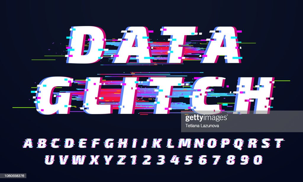 Glitch font. Digital glitched alphabet, game screen letters and broken old display lettering vector set