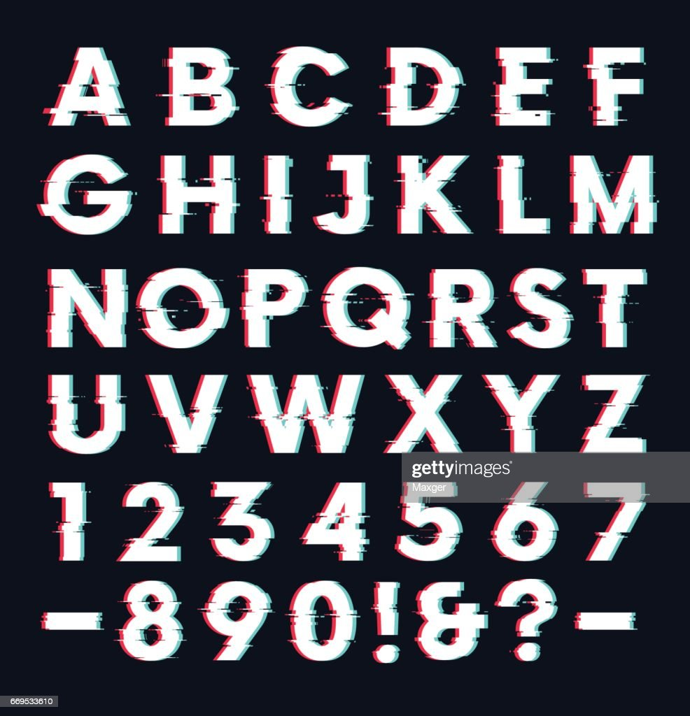 Glitch font with distortion effect vector letters and numbers