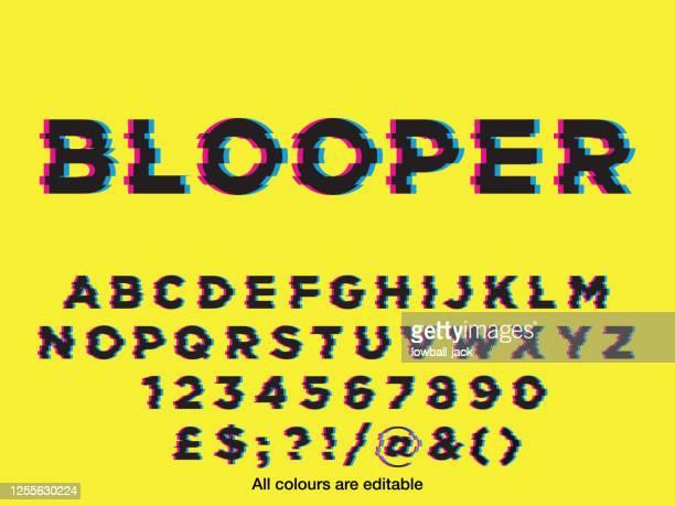 glitch style font vector stock illustration - alphabet stock illustrations