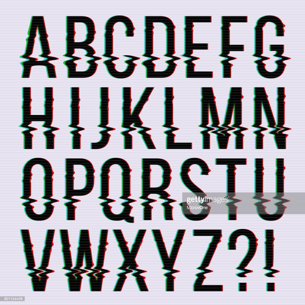Glitch style, old television screen distortion effect english vector type