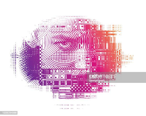 Glitch Technique of Angry Woman's Face