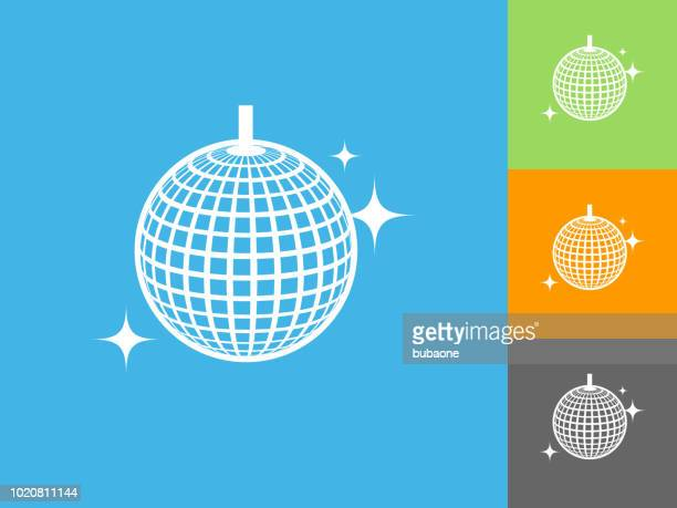gliterring disco ball flat icon on blue background - mirror ball stock illustrations