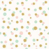 Glitter confetti polka dot seamless pattern.