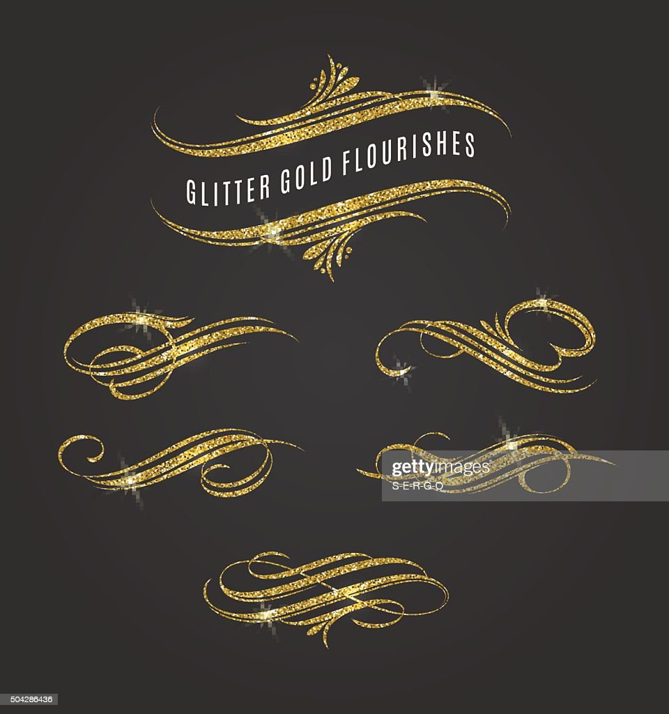 Glitter gold flourishes design elements