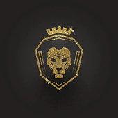 Glitter gold lion logo