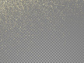 Glitter gold particles and star dust shimmer or magical falling gold glittering effect on vector transparent background