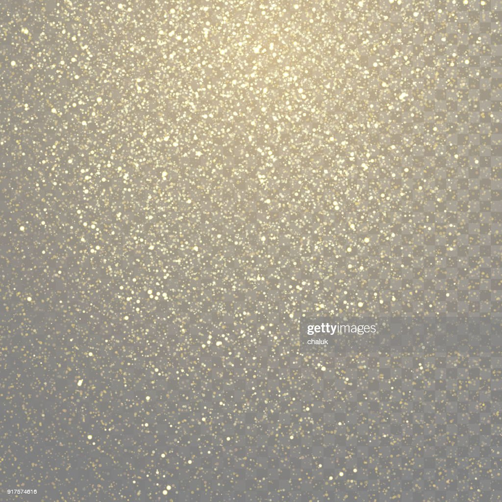 Glitter gold particles light shine effect on transparent vector background. Sparkling gold glitter particles effect, golden glittering space star dust