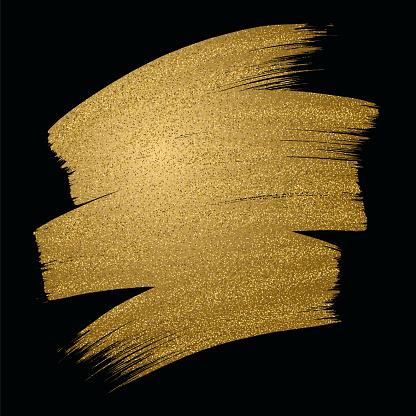 Glitter golden brush stroke on black background. Vector illustration. - gettyimageskorea