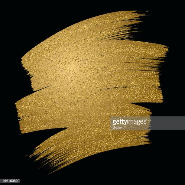 Glitter golden brush stroke on black background. Vector illustration.
