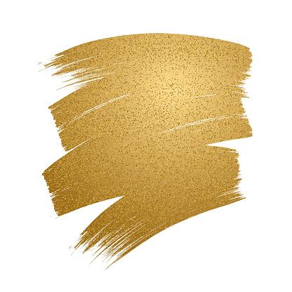 Glitter golden brush stroke on white background. - gettyimageskorea