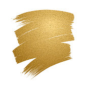 Glitter golden brush stroke on white background.