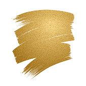 Glitter golden brush stroke on white background.