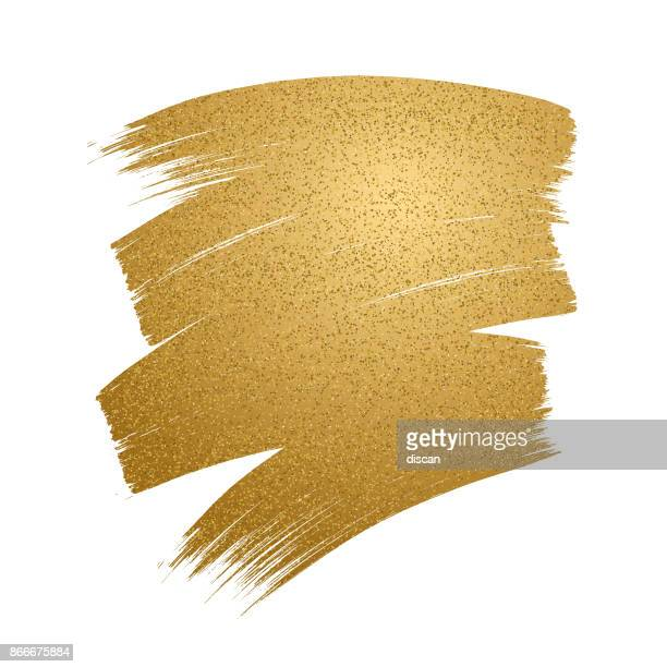 glitter golden brush stroke on white background. - tradition stock illustrations