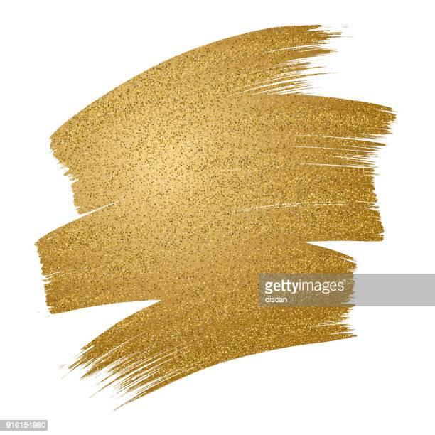 glitter golden brush stroke on white background - stained stock illustrations