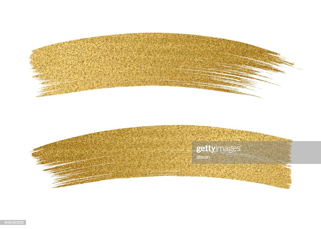 Glitter golden brush stroke on white background
