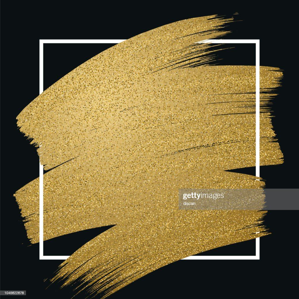 Glitter golden brush stroke with frame on black background : stock illustration