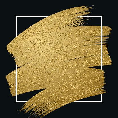 Glitter golden brush stroke with frame on black background - gettyimageskorea