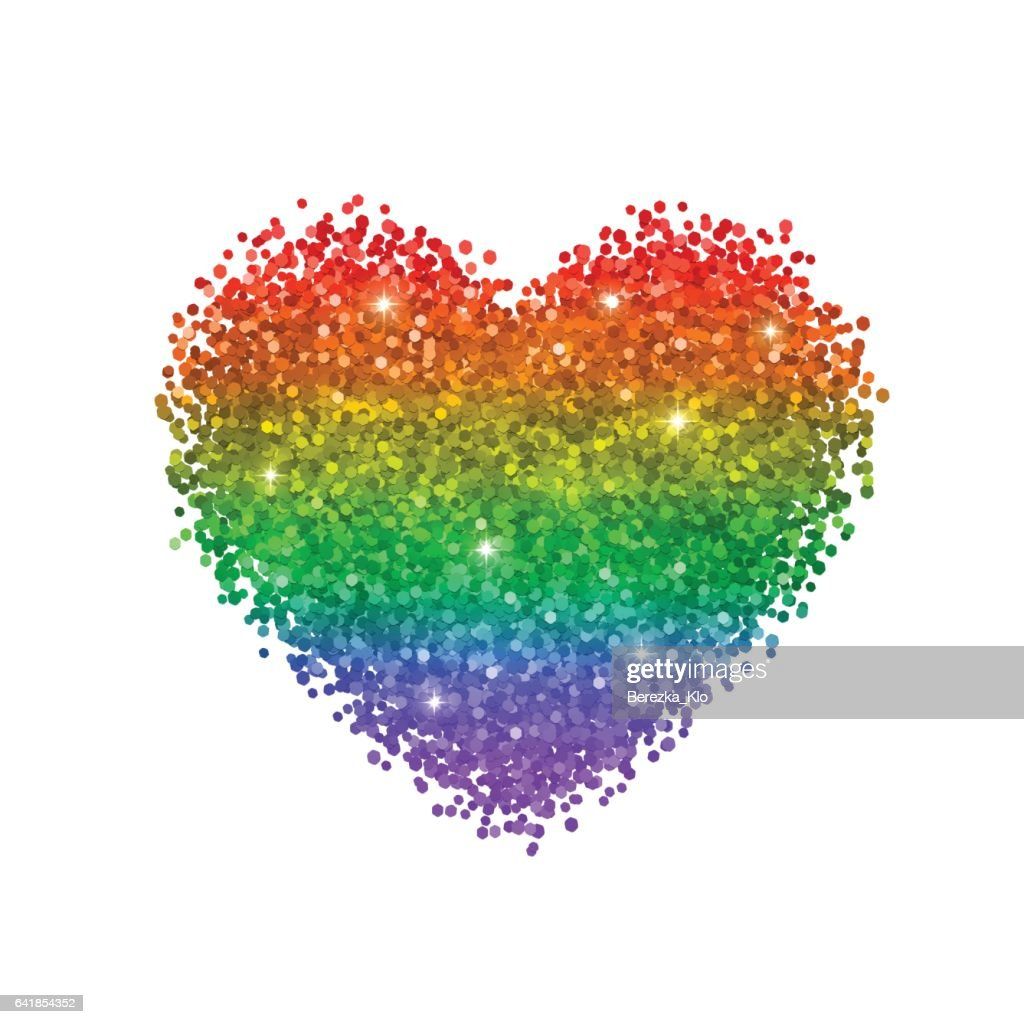 Glitter heart, colors of rainbow, LGBT symbol.  Vector