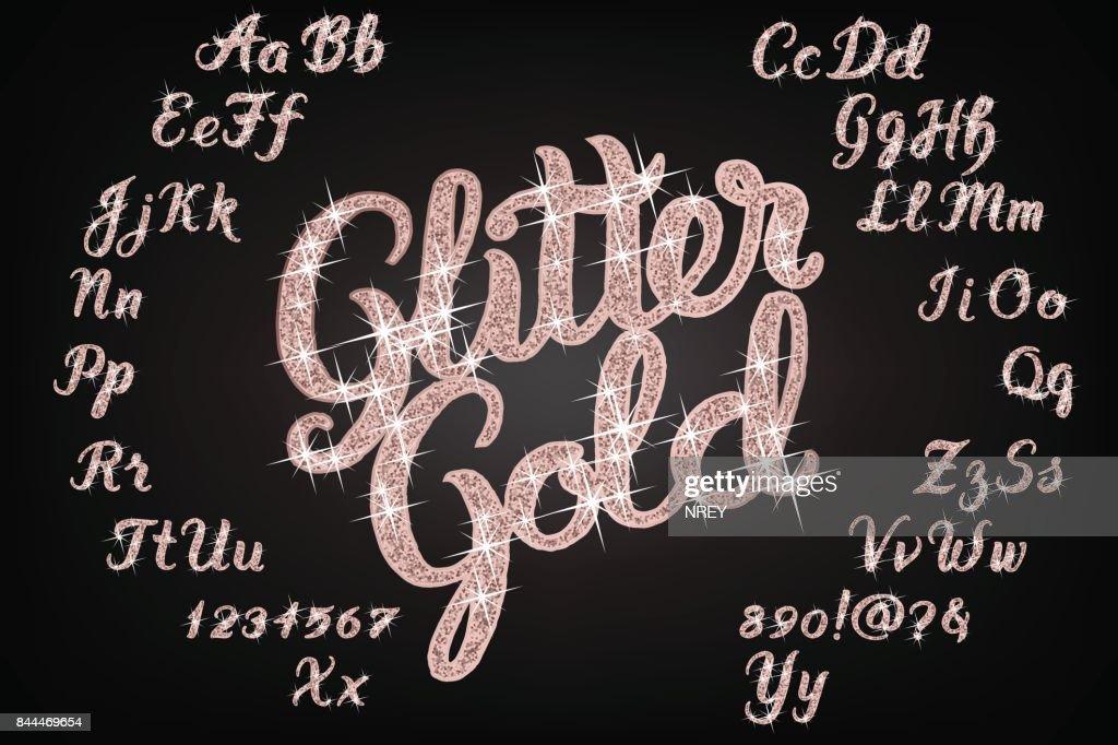 Glitter rose Gold Handwritten alphabet