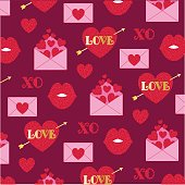 Glitter valentines day pattern on red