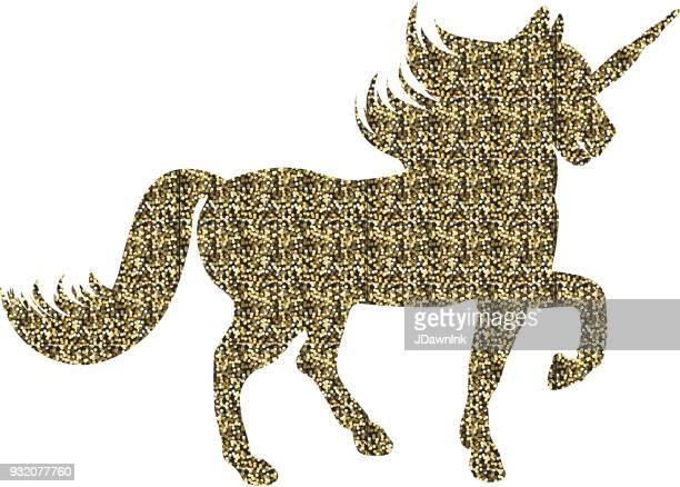 glittering gold unicorn silhouette - unicorn horn stock illustrations, clip art, cartoons, & icons