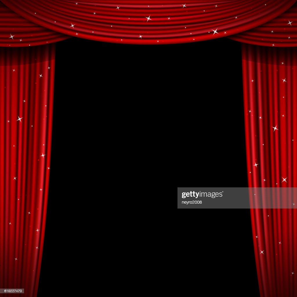 Glittering red curtain vector illustration. Open glitter curtains background