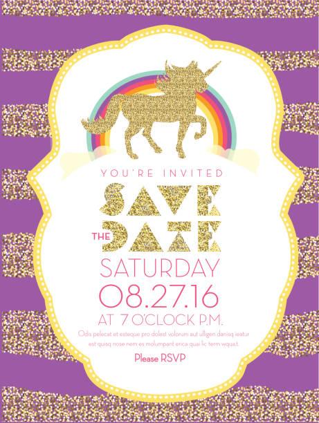 glittering unicorn and rainbow invitation design template - unicorn stock illustrations