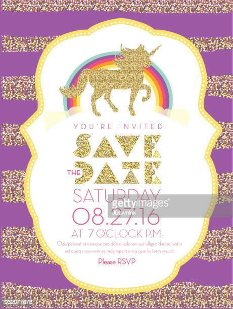 glittering unicorn and rainbow invitation design template - unicorn stock illustrations