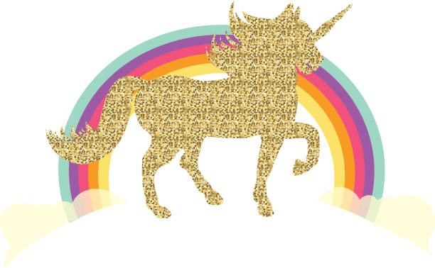 glittering unicorn and rainbow - unicorn stock illustrations