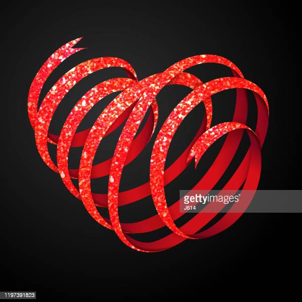 glittery ribbon heart - anniversary card stock illustrations