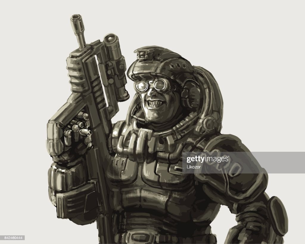 Gloating soldier in fantastic suit with a rifle. Vector illustration.