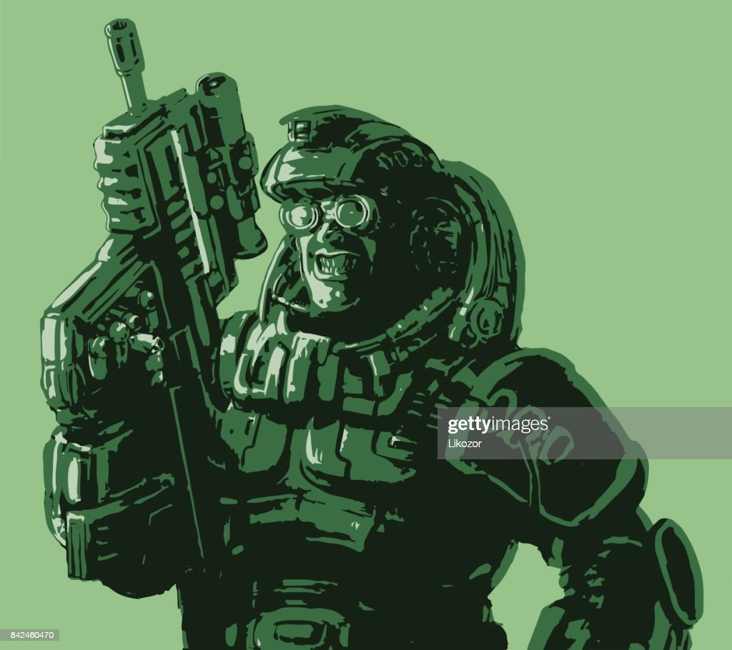 Gloatingly smiling soldier in suit with a rifle. Vector illustration.