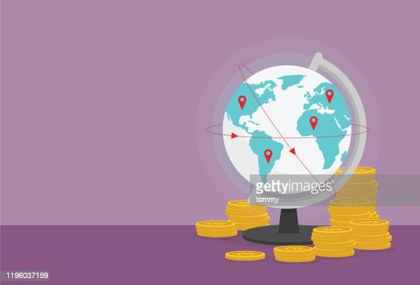 global und münzstapel - handel treiben stock-grafiken, -clipart, -cartoons und -symbole